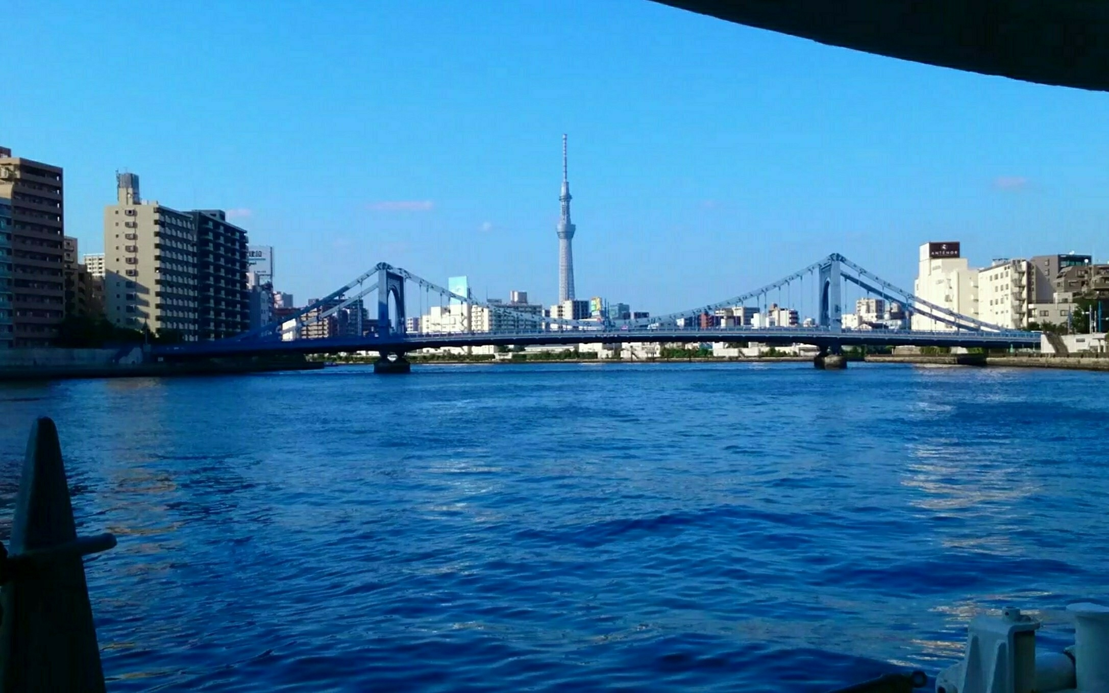Tokyo Skytree came into sight after passing under many bridges!!
