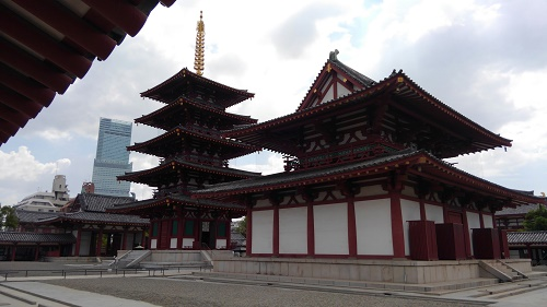 Shitennoji Temple with the tallest building in Japan