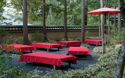 Outdoor tea ceremony in Golden pavilion