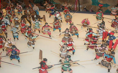 Battle scene in 17th century at Osaka castle