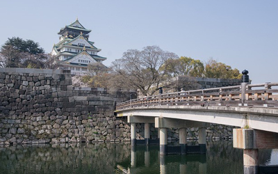 East bridge leading to the main tower in Osaka castle