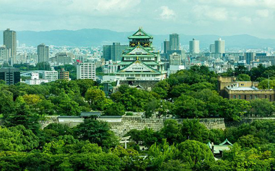Osaka castle viewed from the south