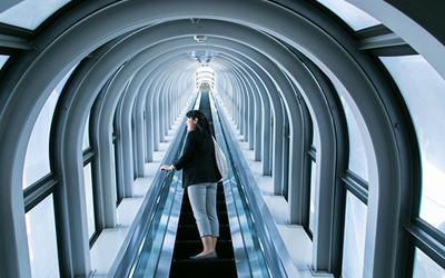 Incide the escalator of Sky building
