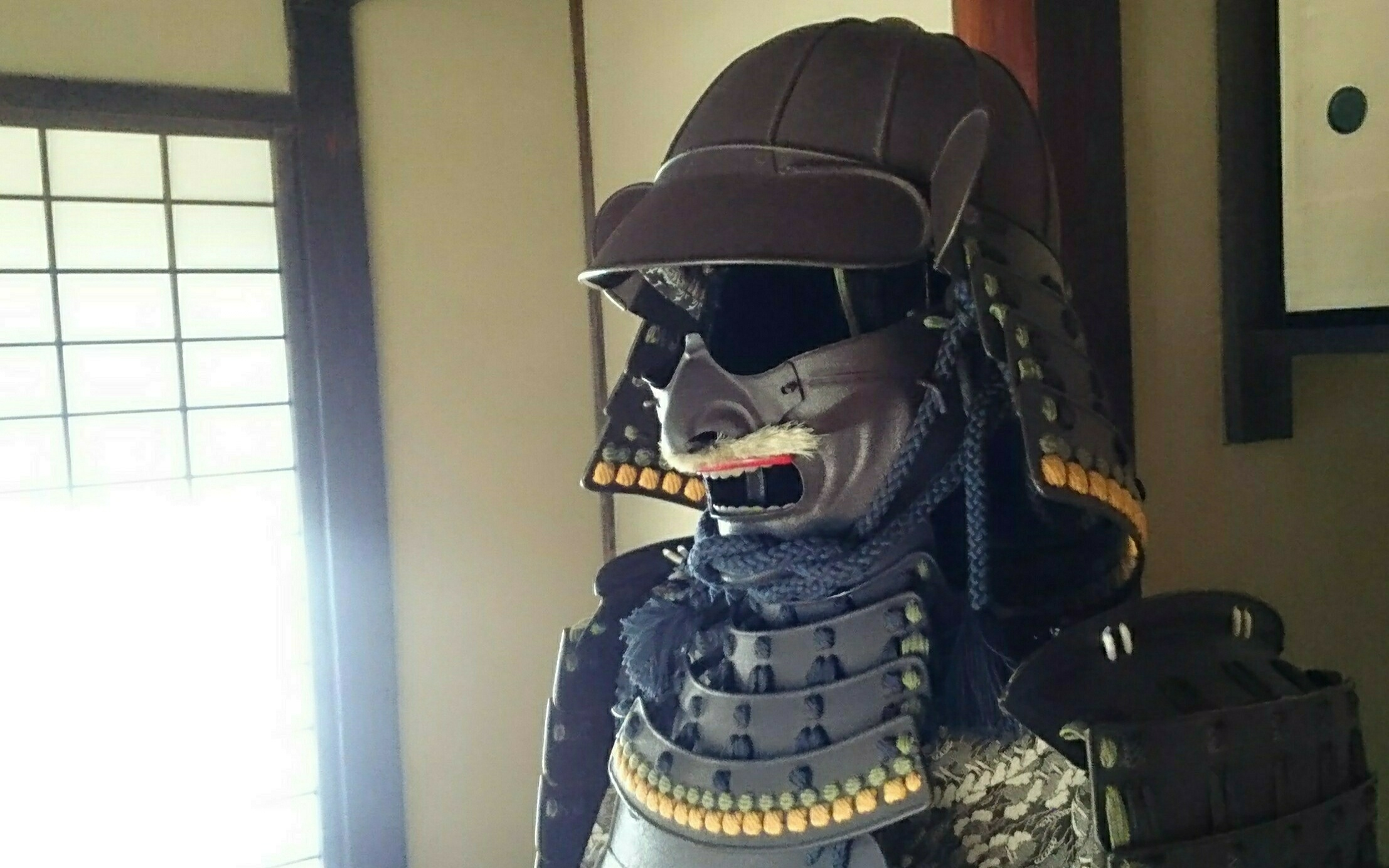 Samurai armour exhibited in the Zashiki reception room in the former residence of the Tajima family.