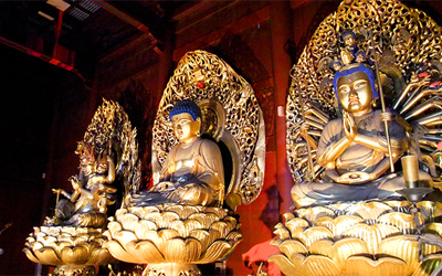 Three Golden Buddha in Rinnoji Temple