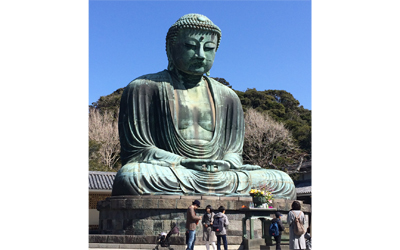 Great Buddha sitting in the open-air since 15 century.  The second largest statue of Buddha in Japan with 12m tall.